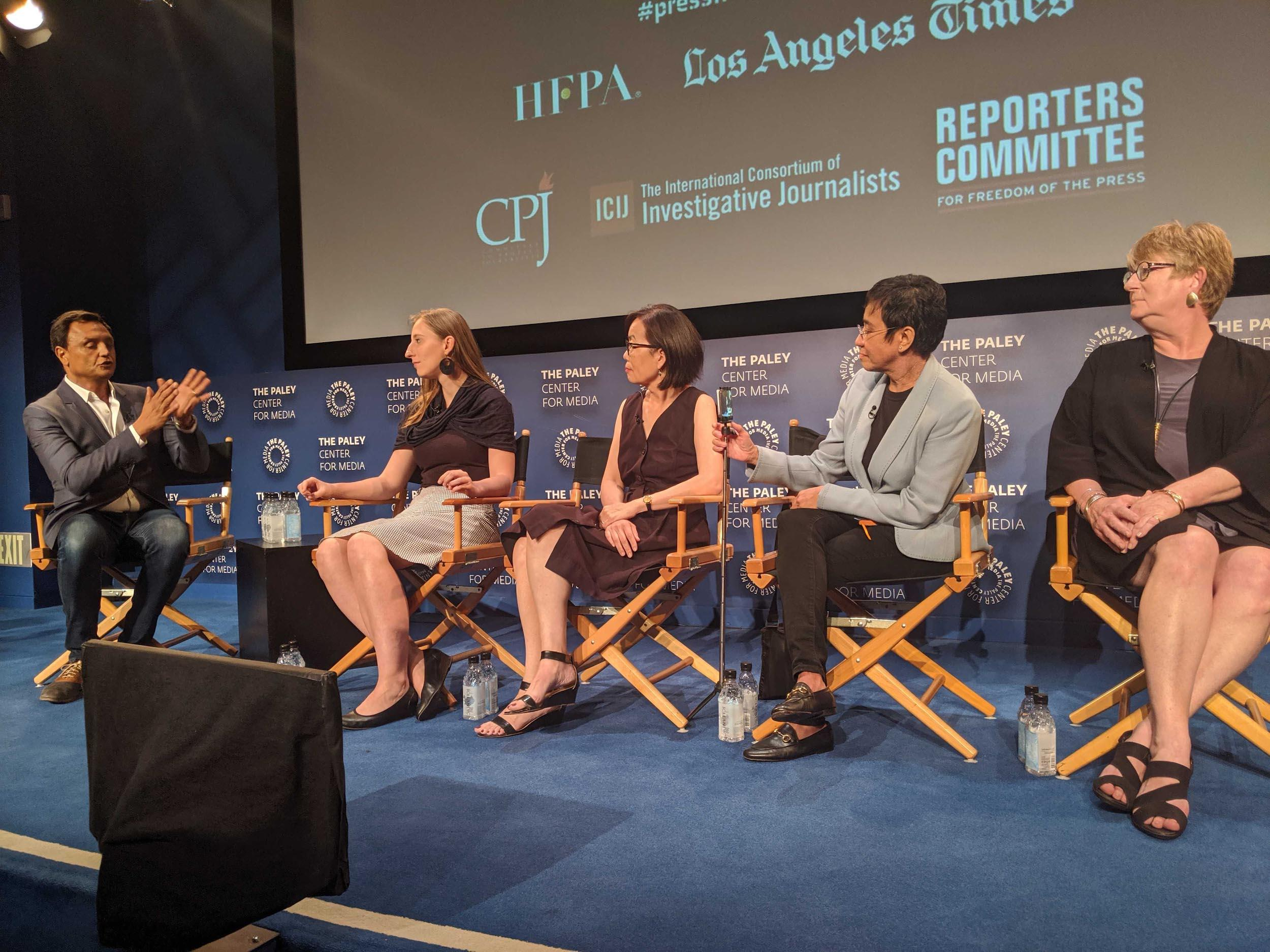 Ramzy Malouki, Blanka Zöldi, Terry Tang, Maria Ressa, and CPJ Board Director Kathleen Carroll speak about the challenges of covering elections. (CPJ)