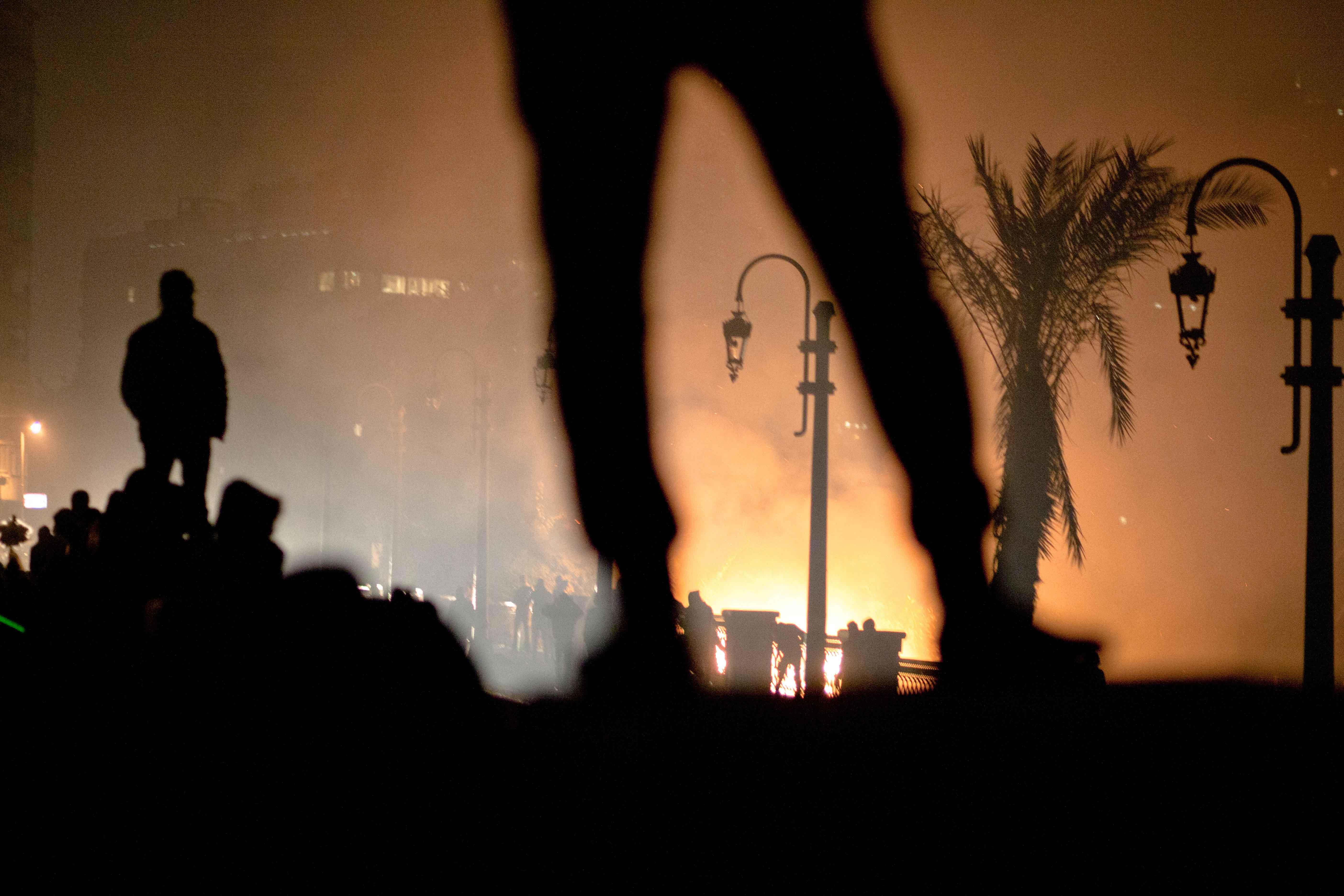 Clashes between protesters and police in Cairo on January 29, 2013, on the second anniversary of the Egyptian revolution. (Mahmoud Abu Zeid, known as Shawkan) Shawkan's work is on display at St. Ann's Warehouse in Brooklyn through October 6.