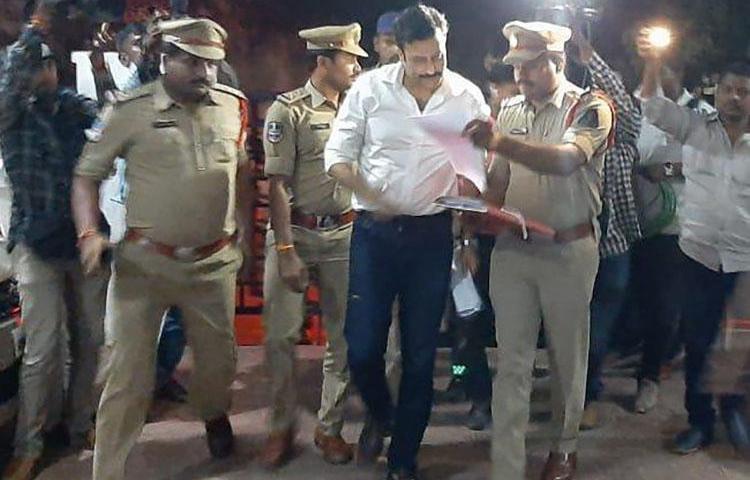 Ravi Prakash, founder of independent Telugu news website Tolivelugu, is pictured after Hyderabad police arrested him on October 5, 2019.