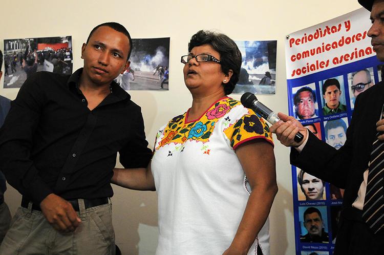 Sandra Maribel Sanchez is seen in Tegucigalpa, Honduras, on August 29, 2012. In September, an attacker held a gun to the journalist's head. (AFP/Orlando Sierra)