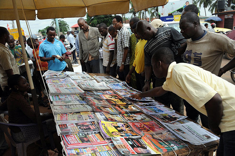 A roadside news stand in Asaba, Delta State, in April 2011. A court in Asaba has charged two journalists with criminal defamation. (AFP/ Pius Utomi Ekpei)