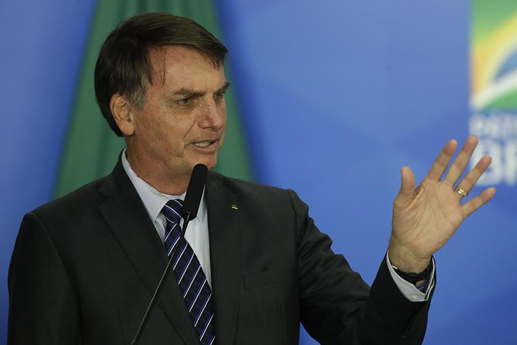 Brazilian President Jair Bolsonaro is seen in Brasilia on October 8, 2019. Bolsonaro recently insulted and threatened the Globo media company. (AP/Eraldo Peres)