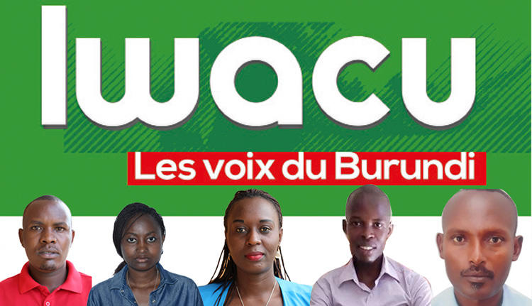 Four Iwacu journalists, from left, Térence Mpozenzi, Agnès Ndirubusa, Christine Kamikazi, Egide Harerimana, and their driver, Adolphe Masabarikiza, are detained in Burundi. (Iwacu Media)