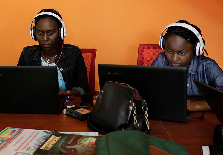 Broadcast reporter Christine Kamikazi, left, and politics writer Agnès Ndirubusa. The journalists and their colleagues were arrested in Burundi's western Bubanza province. (Iwacu Media)