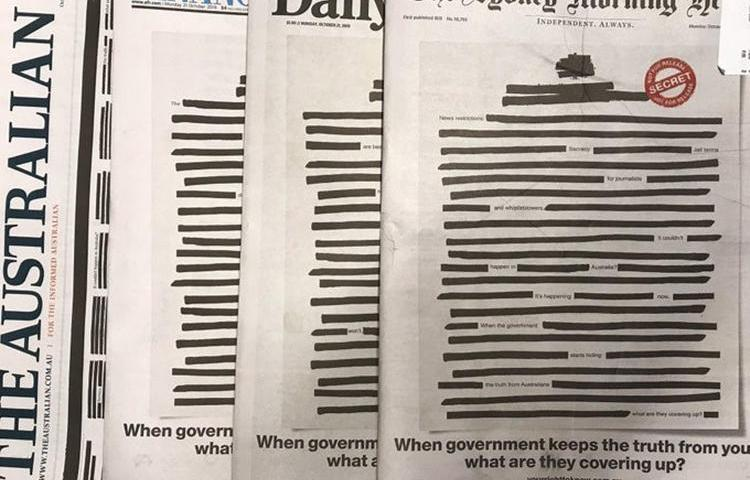 Tens of Australian newspapers blacked out their front pages on Monday, October 21, 2019, to protest against secrecy laws. (Andy Park/Australian Broadcasting Corporation)
