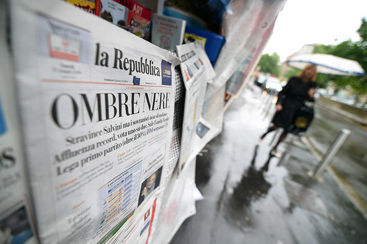 A newsstand in Rome in May 2019. Over 20 journalists in Italy are provided with round-the-clock police protection because of threats from groups including the mafia. (Reuters/Guglielmo Mangiapane