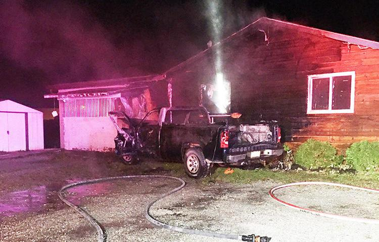 The offices of the Turtle Island News newspaper are seen after being hit by a truck and set ablaze in Six Nations Territory, Canada, on October 28, 2019. (Turtle Island News)