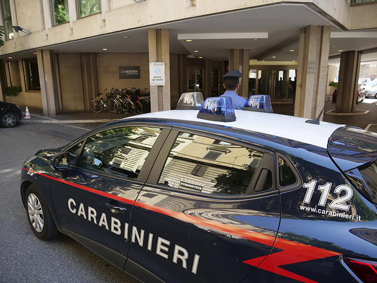 A police car is seen in Rome, Italy, on July 31, 2019. Police are investigating recent attacks against journalist Mario De Michele. (AP/Paolo Santalucia)