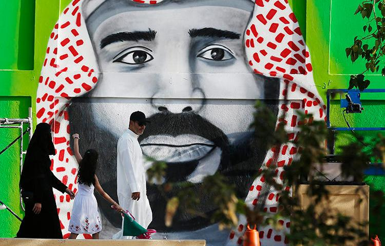 Street art depicting Crown Prince Mohammed bin Salman is seen in Riyadh, Saudi Arabia, on September 23, 2019. Saudi security forces have recently arrested several journalists. (AP/Amr Nabil)