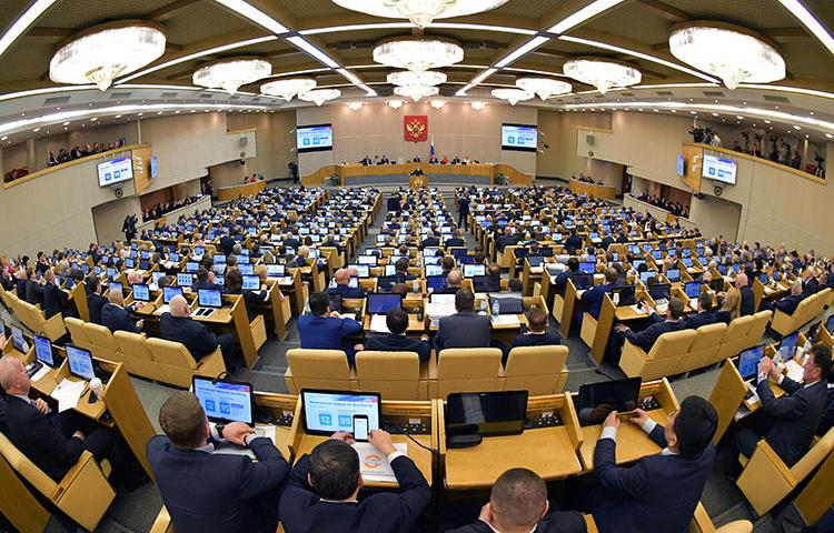 "Russia's lower house of parliament, the State Duma, is seen in Moscow on April 17, 2019. The State Duma recently passed legislation that would add individual journalists and bloggers to the country's list of ""foreign agents."" (Reuters/Sputnik/Alexander Astafyev)"