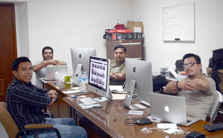 Mexican journalist Gildo Garza, right, and his team working in Victoria. Garza has been enrolled in safety protection mechanism since 2017. (Gildo Garza)