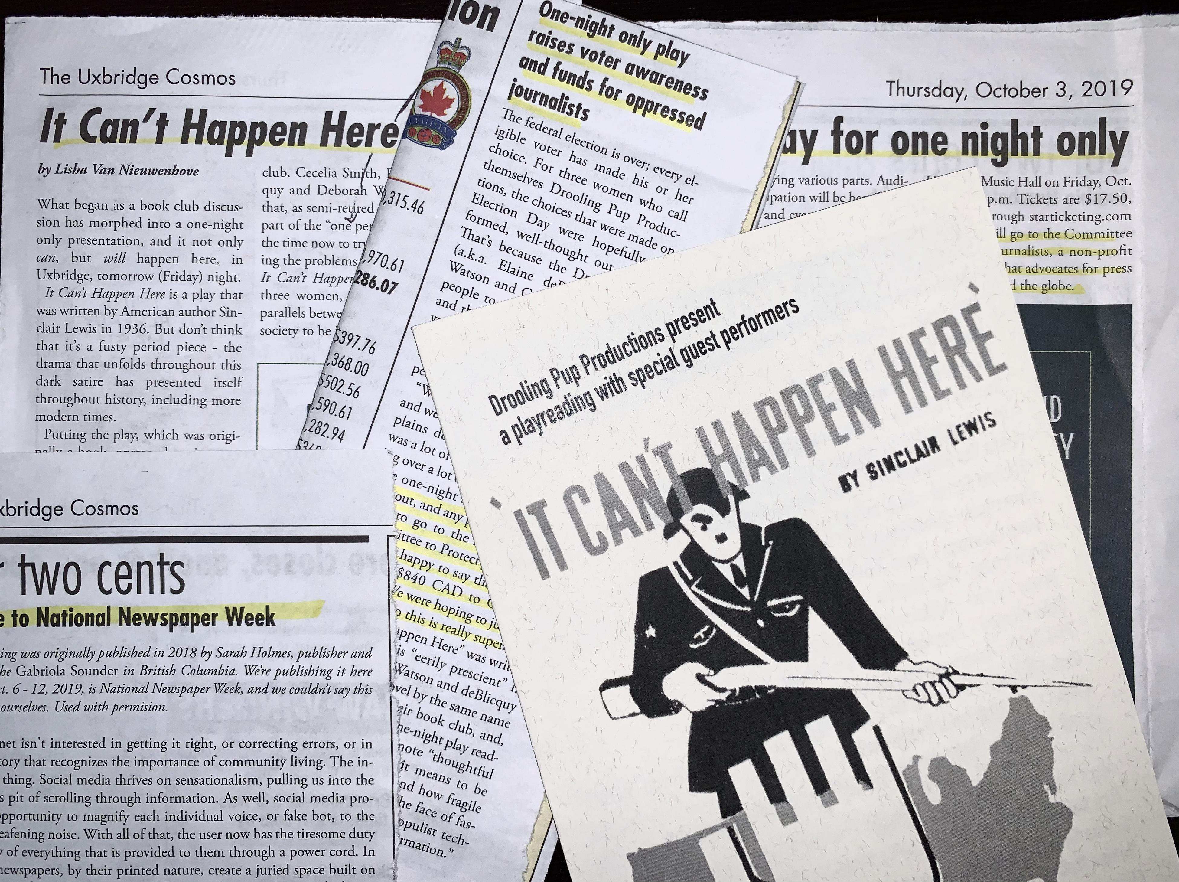 """Newspaper clippings and a program for Drooling Pup Productions' October staging of Sinclair Lewis' """"It Can't Happen Here,"""" which raised funds for CPJ. (CPJ)"""