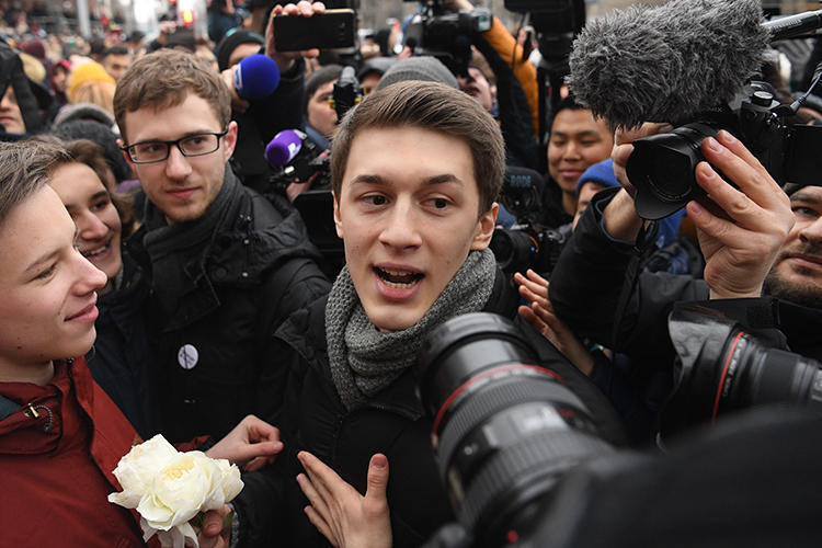 "Russian blogger Yegor Zhukov is seen in Moscow on December 6, 2019. That day, a Moscow court sentenced him to a three-year suspended sentence on charges of ""inciting extremism directed against the Russian state."" (AFP/Kirill Kudryavtsev)"