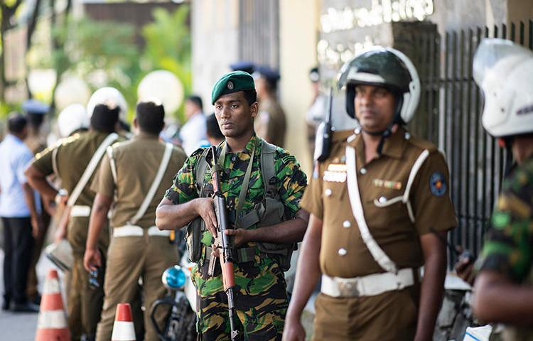 Security personnel are seen in Colombo, Sri Lanka, on November 17, 2019. Journalists were recently attacked and interrogated throughout Sri Lanka. (AFP/Jewel Samad)