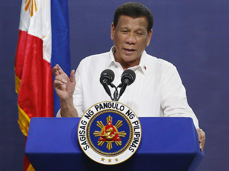 Philippine President Rodrigo Duterte is seen in Quezon City on August 27, 2019. Duterte recently threatened to block the franchise renewal of Philippine broadcaster ABS-CBN. (AP/Bullit Marquez)