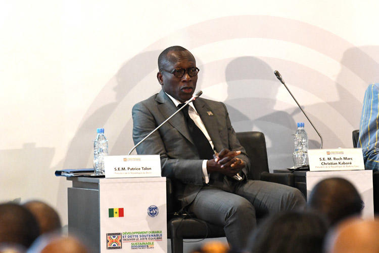 Patrice Talon, the president of Benin, during a conference co-organized by the International Monetary Fund (IMF) on sustainable development and debt in Diamniadio, Senegal, on December 2, 2019. Authorities in Benin on December 20 arrested journalist Ignace Sossou on a defamation complaint filed by a government minister. (AFP/Seyllou)