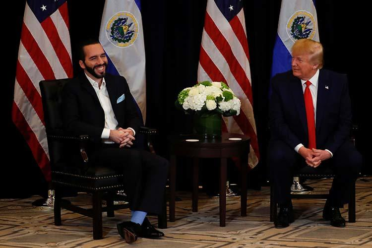 El Salvador's President Nayib Bukele with U.S. President Donald Trump on the sidelines of the 74th session of the United Nations General Assembly in New York on September 25, 2019. Journalists in El Salvador told CPJ that online harassment has intensified since Bukele came to power in June. (Reuters/Jonathan Ernst)