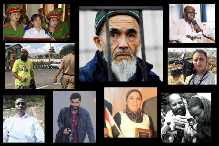 CPJ's #FreeThePress campaign highlighted several jailed journalists. (Photos: Various)
