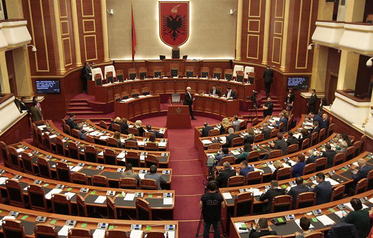 The Albanian parliament is seen in Tirana on April 28, 2017. The parliament recently passed laws that could restrict online news outlets. (Reuters/Florion Goga)