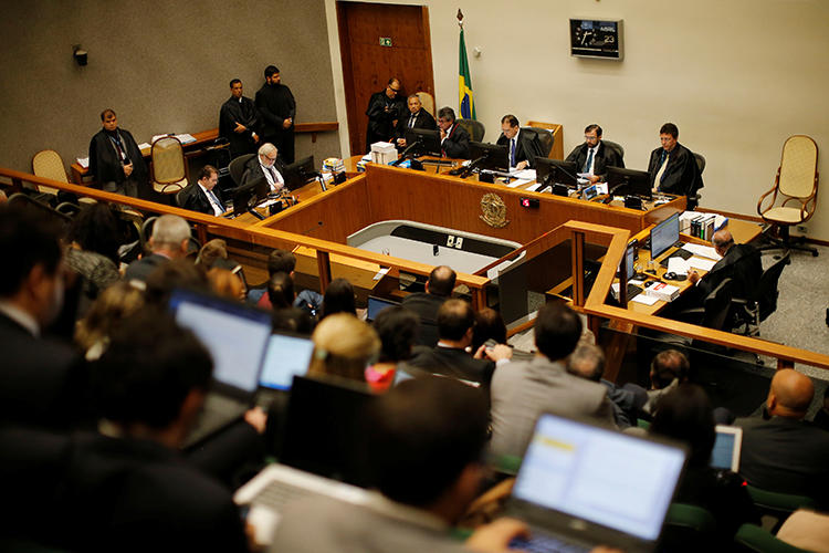 Brazil's supreme court is seen in Brasilia on April 23, 2019. A judge in Goiás state recently delayed the trial of a journalist's murder because he said he had inadequate facilities. (Reuters/Adriano Machado)