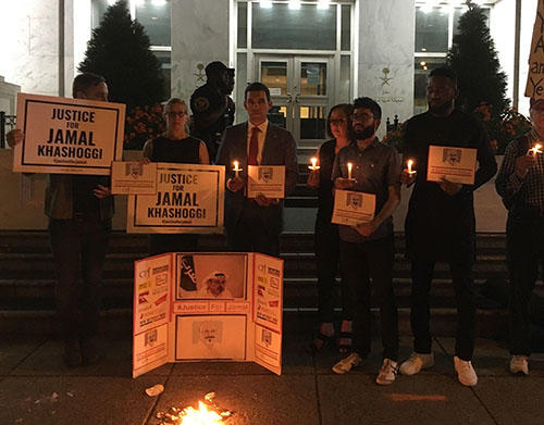 CPJ and press freedom allies hold a vigil outside the Saudi embassy in Washington, D.C., marking the one-year anniversary of Jamal Khashoggi's murder. (CPJ)