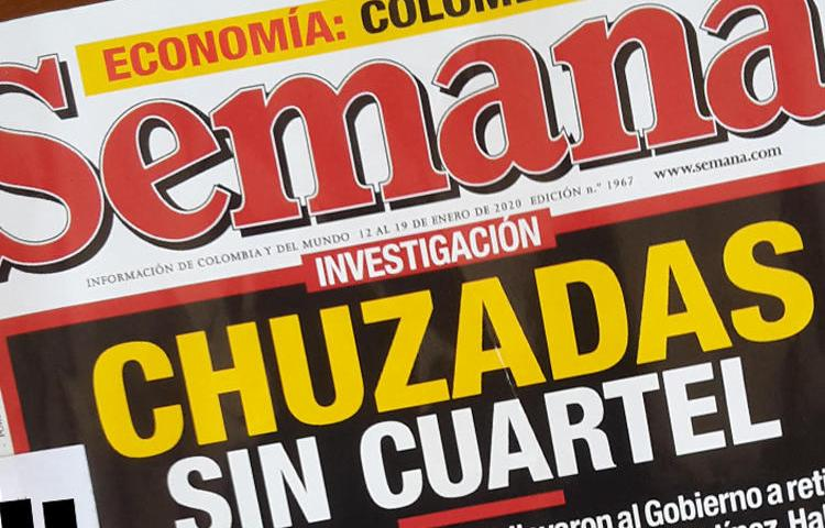 The front page of the January 11, 2020, issue of Semana, pictured, alleged a widespread military campaign of espionage against the magazine. (Photo by CPJ)