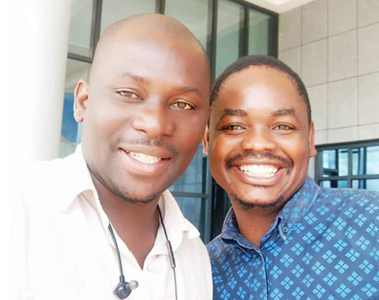 Steve Zimba and Golden Matonga soon after their release in Lilongwe on January 8, 2020. (Steve Zimba)