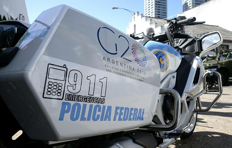 A federal police motorcycle is seen in Buenos Aires, Argentina, on November 16, 2018. Unidentified individuals recently shot at journalist Carlos Walker's home in Buenos Aires province. (RArgentine Ministry of Security/Handout via Reuters)