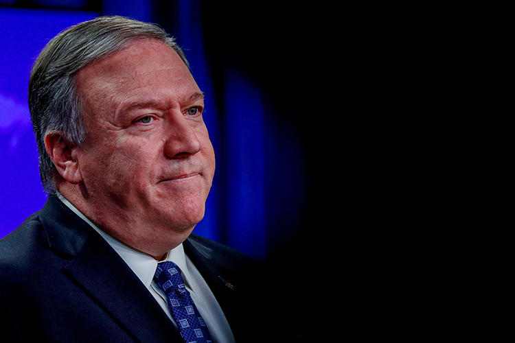 U.S. Secretary of State Mike Pompeo is seen in Washington, D.C., on January 7, 2020. Pompeo recently berated an NPR reporter, and the State Department barred another reporter from traveling with the secretary. (Reuters/Tom Brenner)