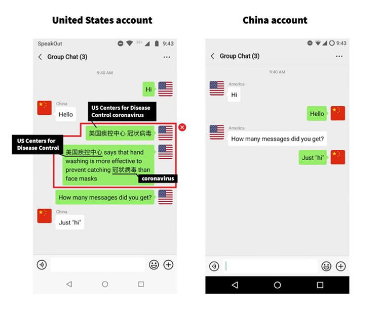 """In this screenshot illustrating WeChat censorship, a United States account attempts to send messages containing the Chinese terms for """"U.S. Centers for Disease Control"""" and """"coronavirus"""" to a China account, but they do not arrive. (Citizen Lab)"""