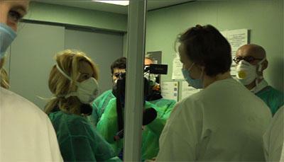 Stefania Battistini and her crew from Italian public broadcaster RAI reporting on the coronavirus outbreak in Lombardy, northern Italy. (Photo courtesy Stafania Battistini)