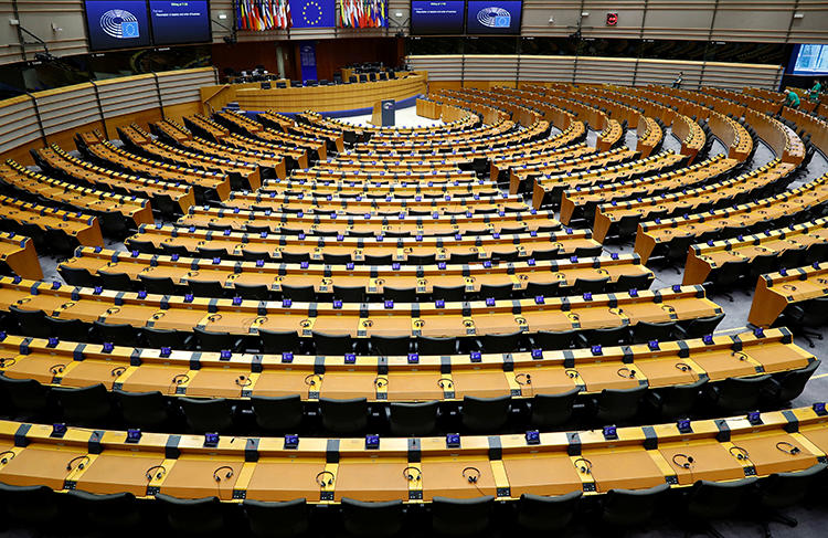 A general view of the hemicycle shown ahead of a plenary session of the European Parliament in Brussels, Belgium on March 9, 2020. The parliament is drafting legislation on terrorist content online that could affect journalists reporting the news. (Reuters/Francois Lenoir)