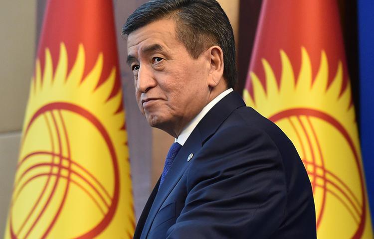 Kyrgyz President Sooronbay Jeenbekov is seen in Bishkek on December 25, 2019. Khadicha Askarova, the wife of imprisoned journalist Azimjon Askarov, recently wrote a letter to Jeenbekov pleading for the journalist's release. (AFP/Vyacheslav Oseledko)