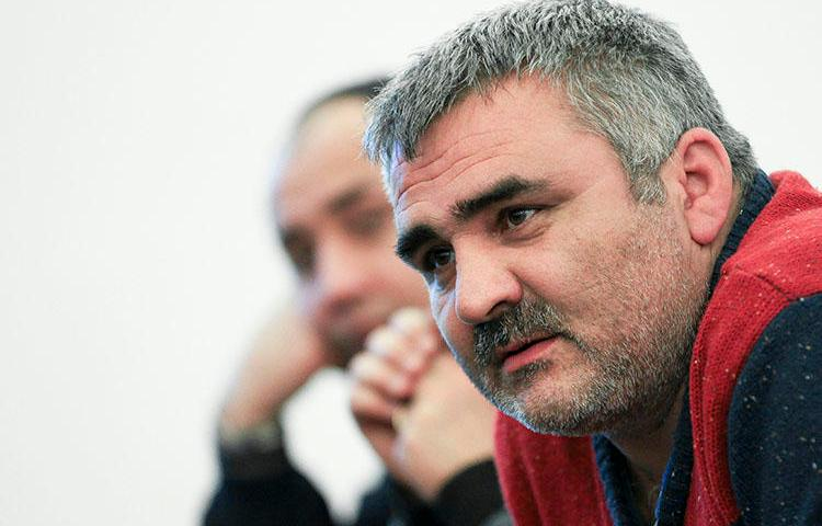 Independent Azerbaijani journalist Afgan Mukhtarli speaks in Baku, Azerbaijan ,,on Sunday, March 2, 2014. Mukhtarli spoke to CPJ after his release from prison in Azerbaijan on March 17, 2020. (AP Photo/Aziz Karimov)