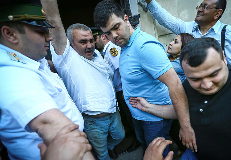 Journalist Afgan Mukhtarli is seen at a court in Baku, Azerbaijan, on May 31, 2017. He was released from prison today. (Reuters/Aziz Karimov)