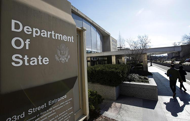 The U.S. State Department Building is seen in Washington, D.C., on January 26, 2017. The department announced today that it was capping the number of visas given to Chinese state media employees. (Reuters/Joshua Roberts)