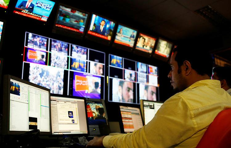 The Geo News office is seen in Karachi, Pakistan, on April 11, 2018. Pakistan's media regulator recently restricted the broadcaster's accessibility on cable providers throughout the country. (Reuters/Akhtar Soomro)