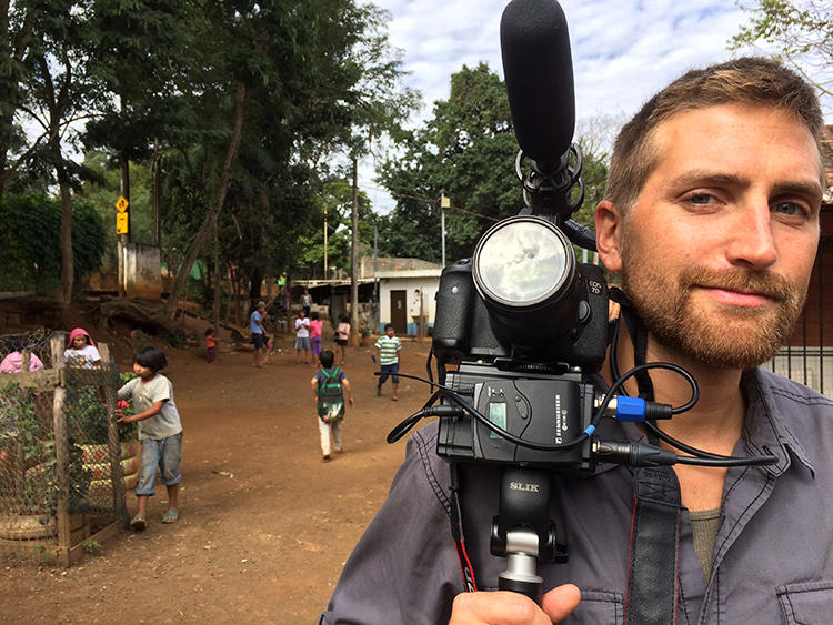 Video journalist Jon Gerberg is seen on assignment in Brazil. Gerberg told CPJ about the challenges of reporting on the COVID-19 pandemic. (Gustavo Canzian)