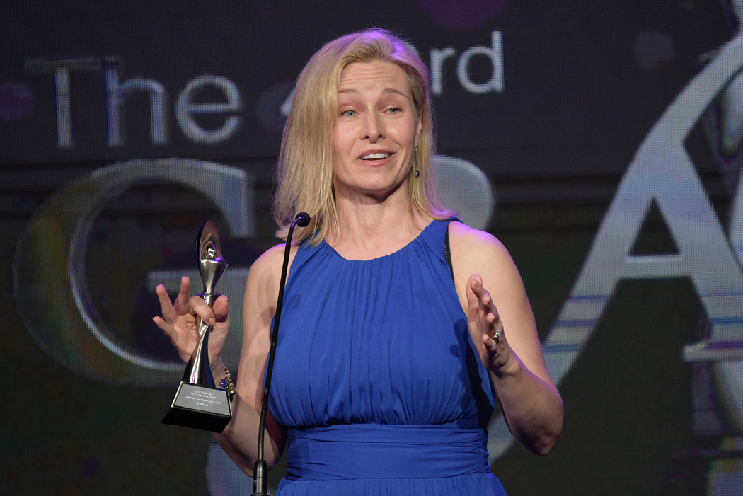 "NPR's Mary Louise Kelly accepts the award for best non-commercial reporter/correspondent/host for ""All Things Considered"" at the 43rd annual Gracie Awards on May 22, 2018, in Beverly Hills, California. Secretary of State Mike Pompeo accused Kelly of lying about the ground rules for an interview after she asked him critical questions. (Richard Shotwell/Invision/AP)"