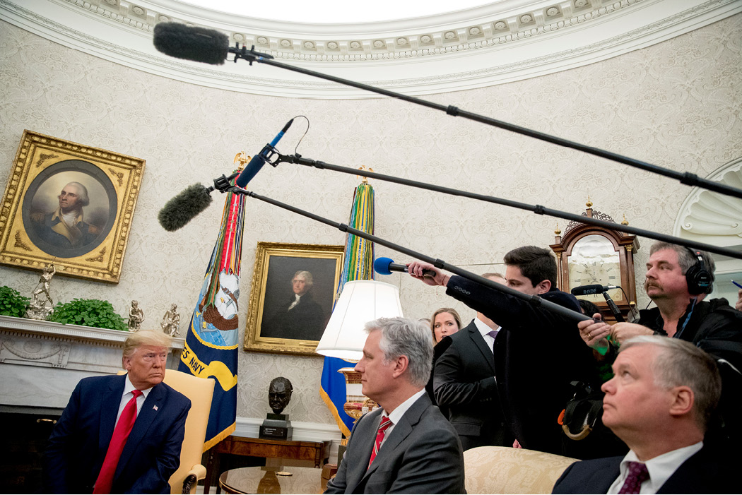 Trump takes a question from a member of the media in the Oval Office of the White House on March 2, 2020. A limited number of reporters and photographers are invited to meetings between Trump and foreign leaders. (AP/Andrew Harnik)