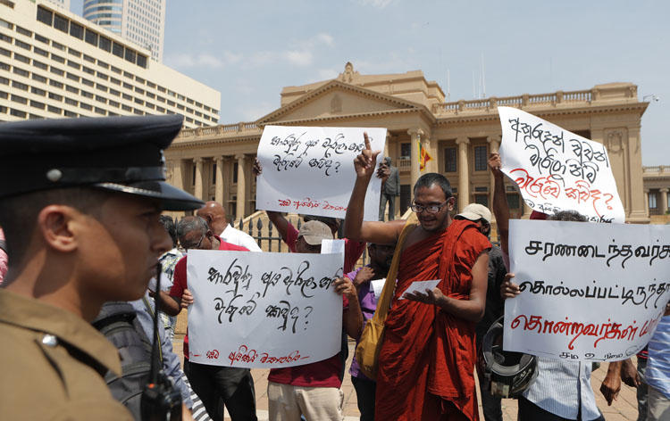 People protest Sri Lankan President Gotabaya Rajapaksa outside his office in Colombo, Sri Lanka, on February 11, 2020, demanding investigations into disappearances during the civil war. Journalists are wary of the Rajapaksa brothers' return to power. (AP/Eranga Jayawardena)