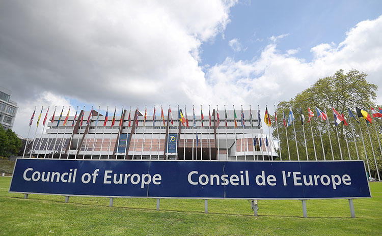 A picture taken on May 5, 2019, shows flags during the open day marking the 70th Anniversary of the Council of Europe in Strasbourg, France. (AFP/Frederick Florin)