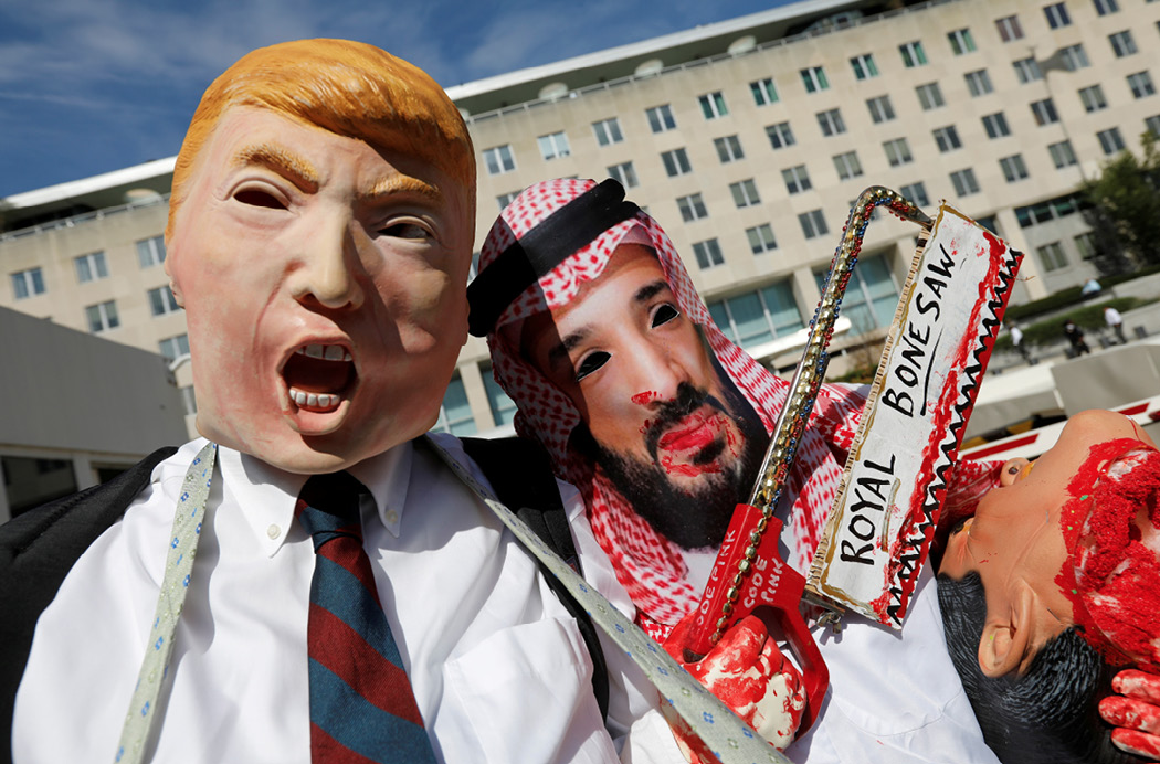 Activists dressed as Trump and Saudi Crown Prince Mohammad bin Salman demonstrate in front of the U.S. State Department in Washington on October 19, 2018, calling for sanctions against Saudi Arabia. The CIA determined that the crown prince directed the murder of Washington Post columnist Jamal Khashoggi. (Reuters/Kevin Lamarque)
