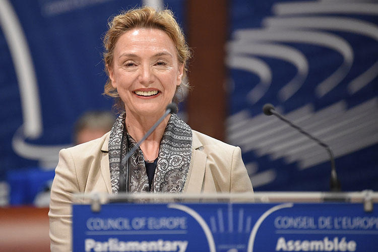 Crotia's minister of foreign affairs, Marija Pejcinovic Buric, reacts after being elected Secretary General of the Council of Europe in Strasbourg, France, on June 26, 2019. On March 31, 2020, CPJ and partner organizations called on the Council of Europe to protect press freedom amid the COVID-19 pandemic. (AFP/Patrick Hertzog)