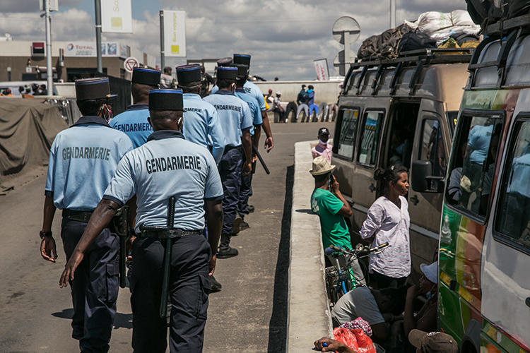 Gendarmes are seen in Antananarivo, Magascar, on April 7, 2020. Madagascar authorities recently jailed journalist Arphine Helisoa on false news and incitement allegations. (AFP/Rijasolo)