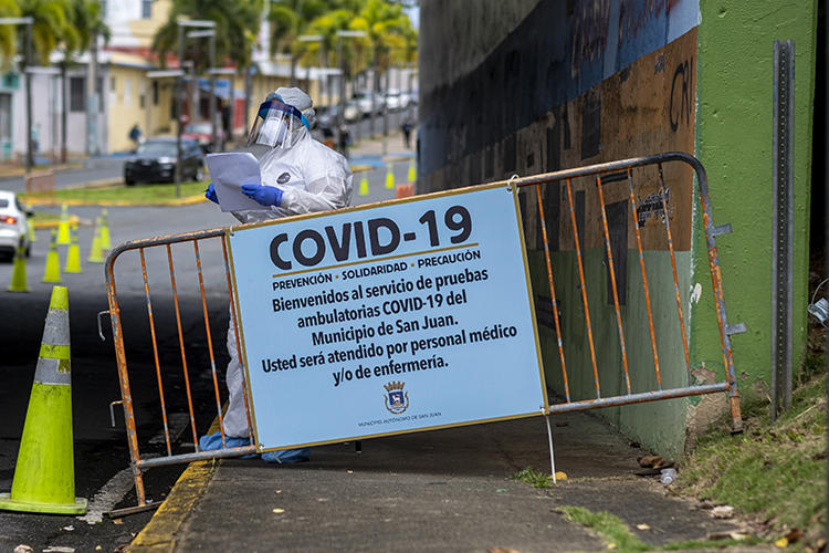 A COVID-19 testing site is seen in San Juan, Puerto Rico, on March 25, 2020. Puerto Rican authorities recently passed a law threatening jail time for spreading 'false information' about the pandemic. (AFP/Ricardo Arduengo)