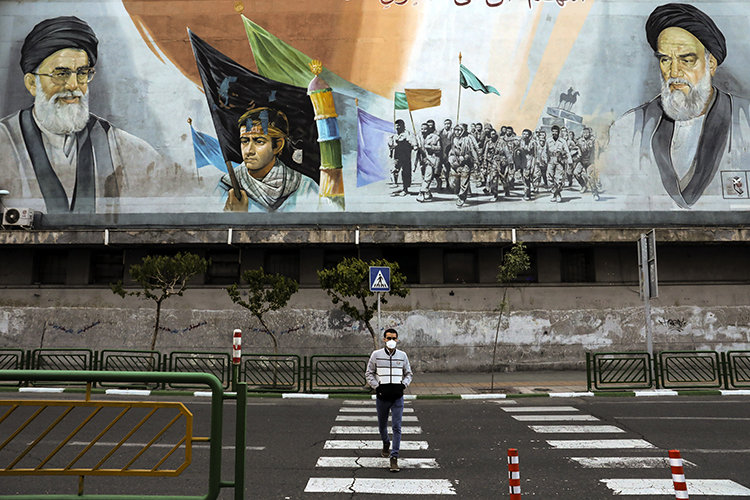 Tehran, Iran, is seen on April 3, 2020. Iranian authorities recently arrested two journalists for allegedly sharing a political cartoon. (AP/Ebrahim Noroozi)