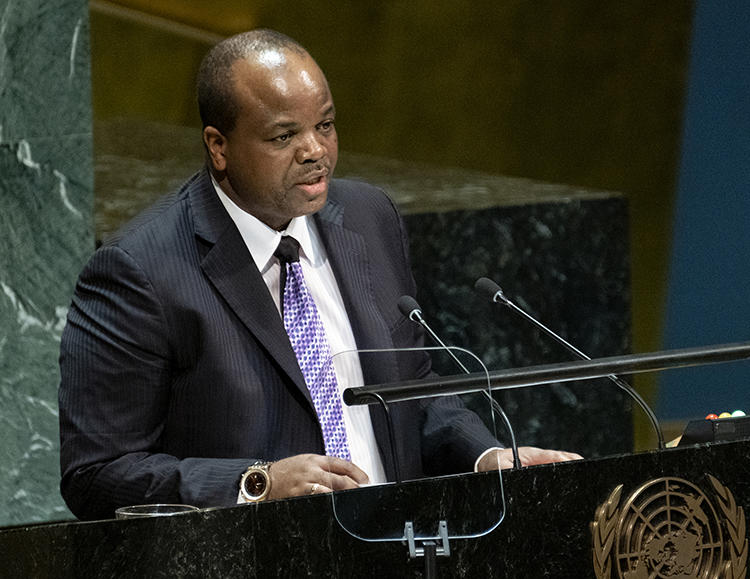 Swazi King Mswati III addresses the United Nations General Assembly in New York on September 25, 2019. Swazi authorities recently detained and harassed journalists writing about the king. (AP/Craig Ruttle)