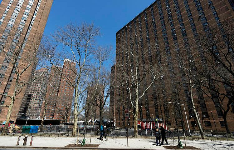 The New York City Housing Authority's John Haynes Holmes Towers are seen on April 4, 2019. CPJ recently spoke with housing reporter Sadef Ali Kully about reporting during the COVID-19 pandemic. (AP/Mark Lennihan)