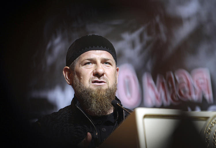 Chechen leader Ramzan Kadyrov is seen in Grozny, Russia, on May 10, 2019. Kadyrov recently threatened journalist Elena Milashina. (AP/Musa Sadulayev)